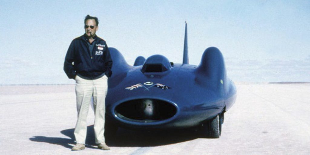 Donald Campbell at Lake Dumbleyung, in Western Australia in 1964 with his 276 mph record breaking Bluebird