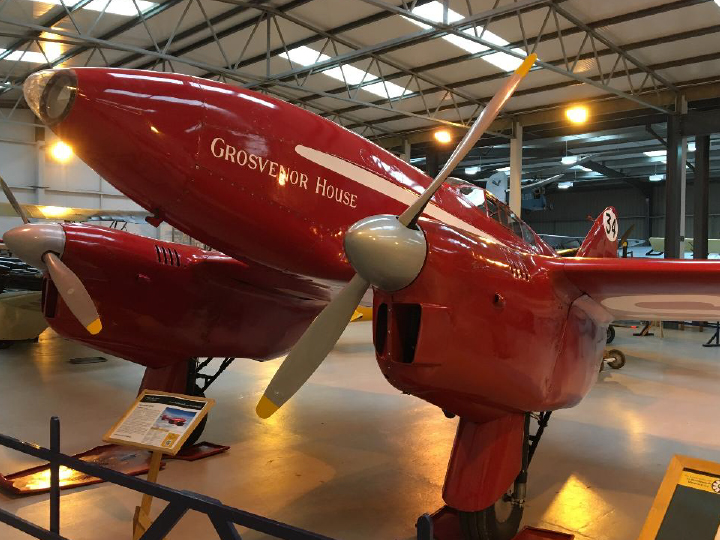 The DH88 Comet Racer 'Grosvenor House' hangered at The Shuttleworth Collection
