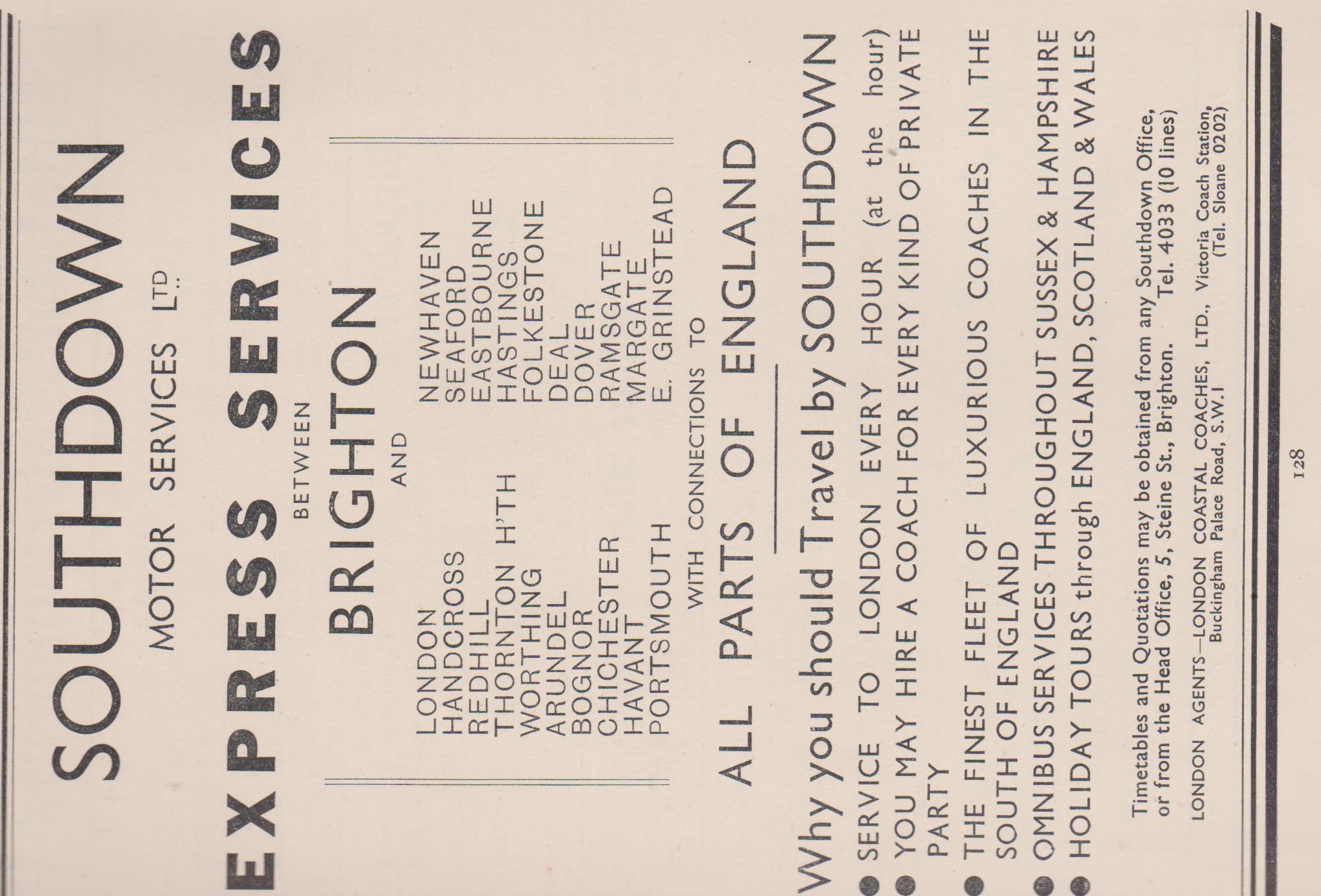 Southdown Motor Services, Ltd advert c.1934