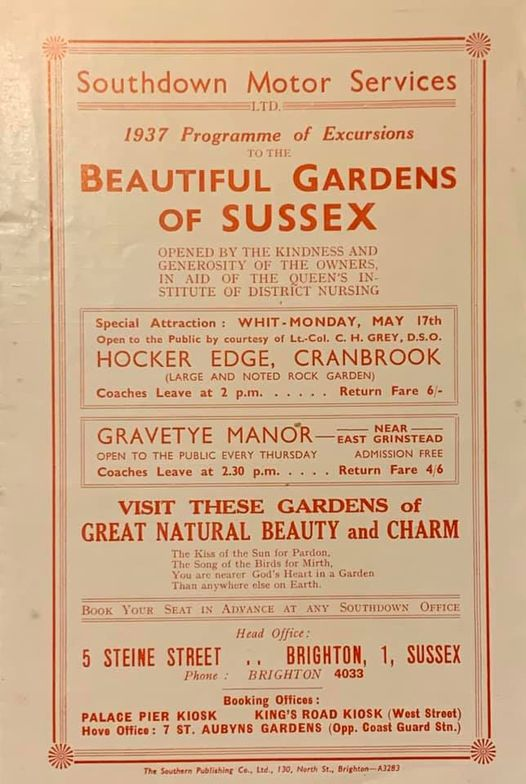 1937 Beautiful Gardens of Sussex programme of excursions