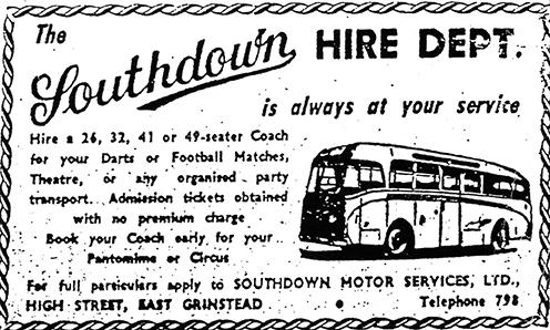 East Grinstead Southdown coach hire advert c.1960