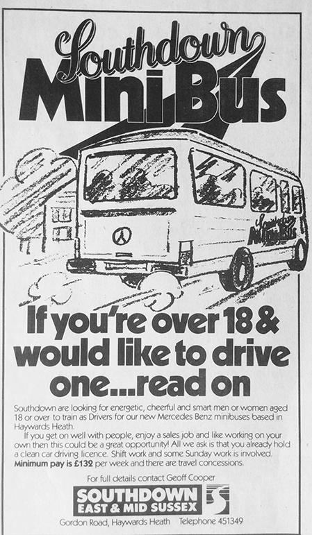 Haywards Heath mini bus flyer c.1985